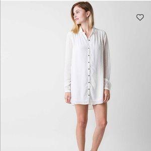 Amuse Society White Chiffon Collard Dress